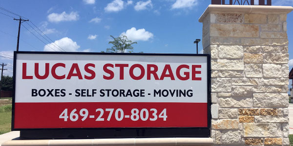 Lucas Storage sign